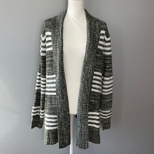 Open Front Cardigan. Green and White Striped. Size 1X